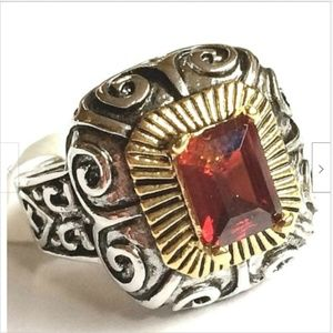 Silver Gold Garnet Art Deco Cocktail Ring Size 6 9